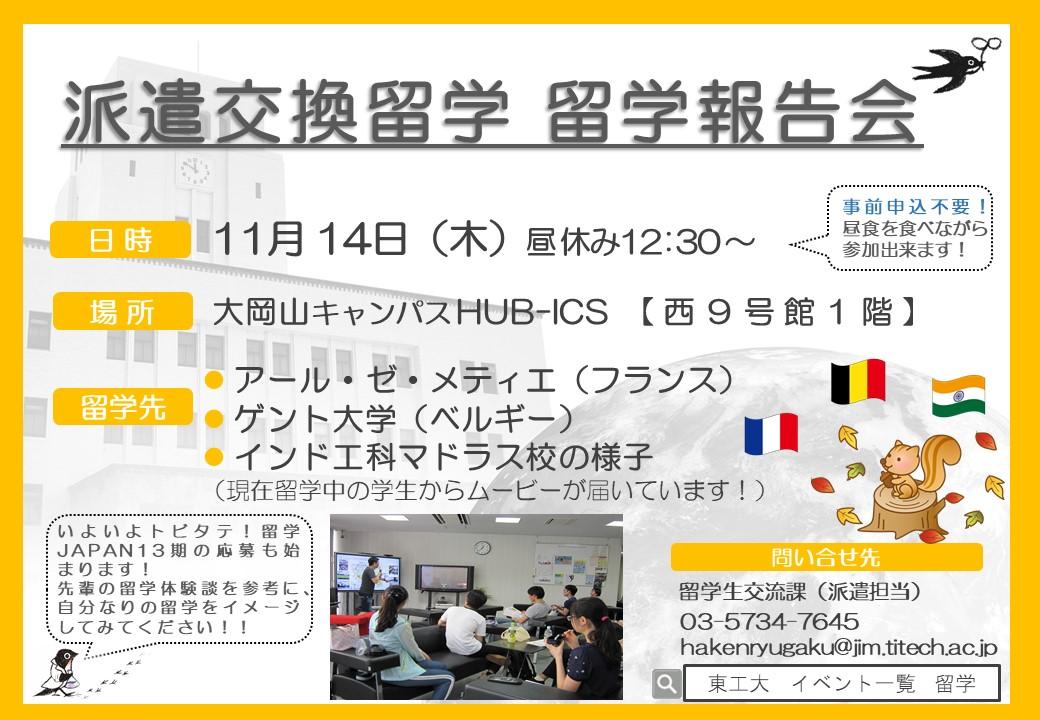 11月14日(木) My Study Abroad 留学報告会